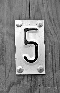 5 - pet - number five in Serbian